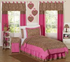 girly cheetah bedding and pink pattern curtains and animal print