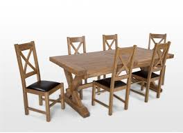 natural oak extendable dining table and six chairs athens