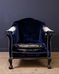 Blue Velvet Accent Chair Blue Velvet Arm Chair Antique Chairs Armchairs Drew Pritchard