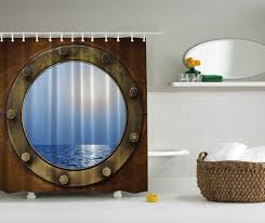 ship porthole shower curtain gives you a bioshock bathroom