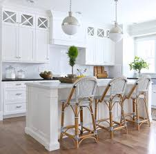 Beach House Kitchens Pinterest by White Kitchen With French Bistro Bar Stools New House Kitchen