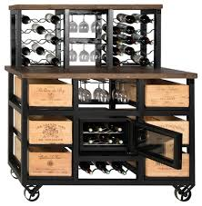 6 drawer solid reclaimed oak wine cooler with wheels and 30 bottle