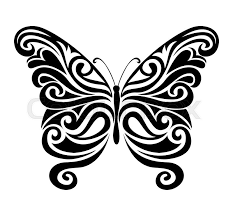 decorative ornamental butterfly silhouette vector illustration