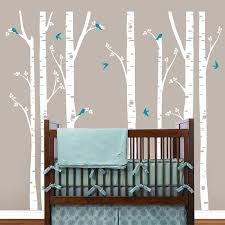 White Tree Wall Decal For Nursery Birch Trees Wall Decals Tree Wall Sticker Removable White Bbirch
