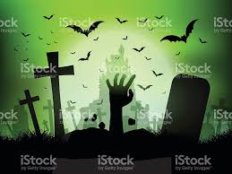 halloween landscape with zombie hand in graveyard stock vector art