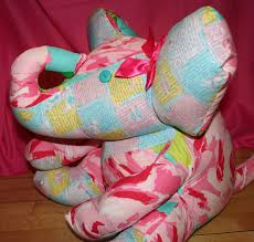 large stuffed elephant made with lilly pulitzer fabric