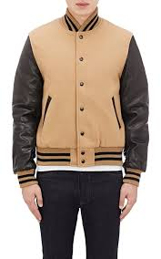 Rugged Bear Jackets Golden Bear Tan And Black Mens Letterman Jacket Varsity Jacket