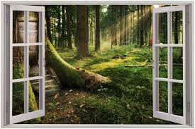 wall stickers murals 3d window view enchanted forest wall sticker mural decal