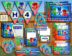 halloween masks party city pj masks birthday package printable digital instant download