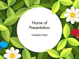 green leaf with flowers and butterflies powerpoint template