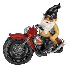garden gnome statue axle grease the biker gnome gnome