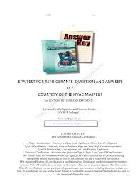 technician certification for refrigerants answer key epa section