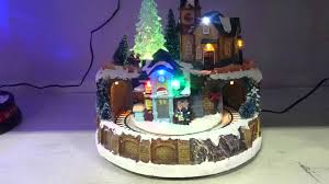 light up christmas musical village moving train scene light motion