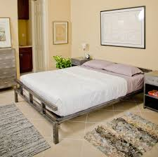Low Profile Bed Frame King Bedroom Brown Painted Teak Wood Low Profile Bed Frame With