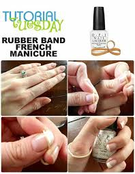 make a french manicure with a rubber band alldaychic
