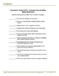 Computer Lesson Worksheets Computers Inside Out Computer Care Safety Worksheet 4th
