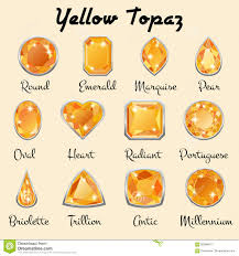 types of cuts of yellow topaz stock vector image 82909421