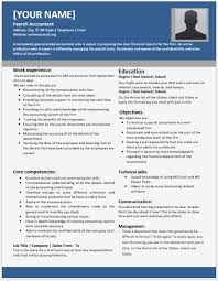 Accountant Resume Samples by Payroll Accountant Resumes For Ms Word Resume Templates