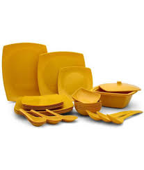 Silver Dinner Set Online Shopping India Czar Square Yellow Melamine Dinner Set Of 32 Pieces Buy Online At