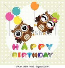 eps vectors of happy birthday card with cute owls vector