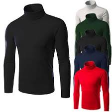 mens thermal cotton turtle neck solid turtleneck knit sweaters