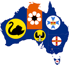 Australia Flags File Flag Map Of States And Territories Of Australia Png