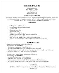 secretary resume templates cv examples administration jobs