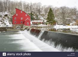 clinton house nj clinton mill new jersey in the winter snow stock photo royalty