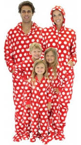 matching family pajamas white polka dot
