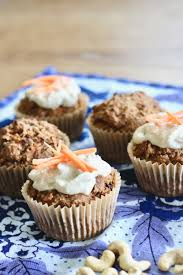 vegan carrot cake muffins with cashew cream cheese icing