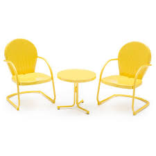 Metal Retro Patio Furniture by Yellow Retro Vintage 3 Piece Metal Chat Set Patio Outdoor