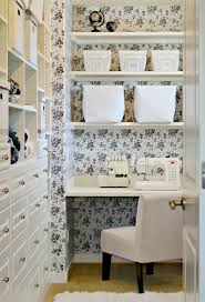 contact paper used as wallpaper for a sewing closet reveal