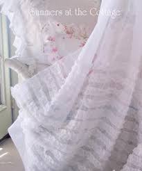 Shabby Chic Shower by Shabby Chic Beach Cottage Shower Curtains White Ruffles Pink Roses