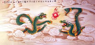 dragons play with a pearl of lightning chinese painting tigers