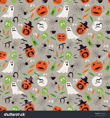 halloween texture seamless cartoon halloween pattern halloween ghosts stock vector
