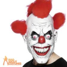 scary clown mask halloween latex with red hair evil horror fancy
