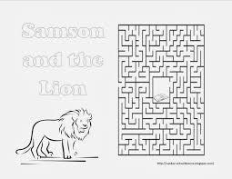 samson and the lion maze sunday activity sunday