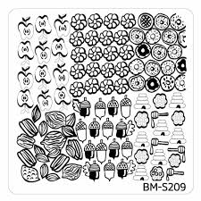 fall themed square nail art stamping plates bm s209 sweet and