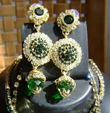 earring chain necklace images Green golden cz necklace with kashmiri ear chain jpg