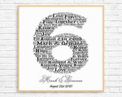 6 year anniversary gift ideas for 6th anniversary gift etsy