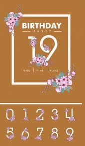 birthday card background numbers and flowers decoration free