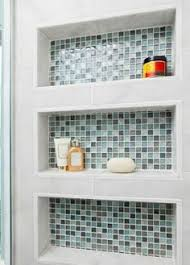 tall shower niches blue brown and subway tile steam showers