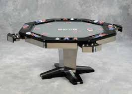 shaw poker table stainless steel and black lacquer custom made