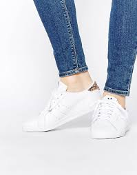 image 1 of adidas originals white miss stan with leopard print