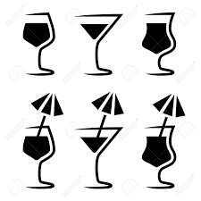 champagne silhouette png hand drawn sketch cocktail martini vintage isolated object vector