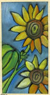 that artist woman chalk pastel sunflowers