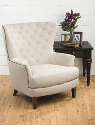 Upholstered Club Chairs by Conner Upholstered Tufted Wing Back Accent Chair Natural