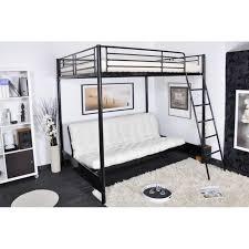 lit mezzanine avec canape lit mezzanine clic clac en métal noir mizzo achat vente lit