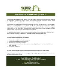 manager marketing female hybrid homes latest jobs in sri