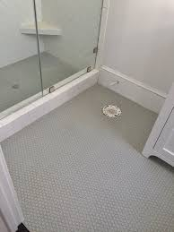 gray penny rounds on bathroom floor and shower floor 3x6 white